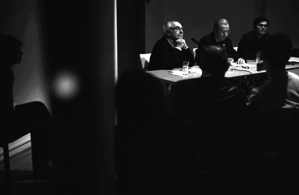 C.Barbier, S.Hugon, M.Maffesoli et J.Baudrillard Stéphane Hugon Michel Maffesoli Jean Baudrillard Rendez-Vous de l'Imaginaire Fondation Ricard